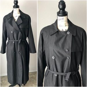 Vintage London Fog Black Trench Warm Coat Belt M